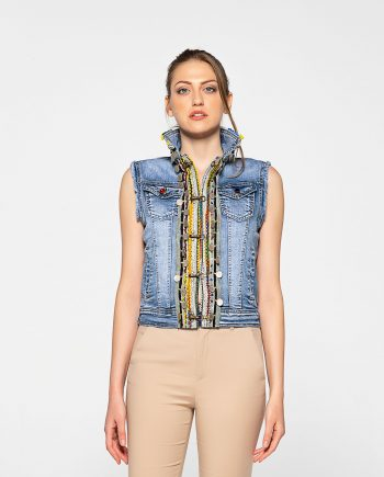 Dassios Theros- Ethnic embroidered denim vest