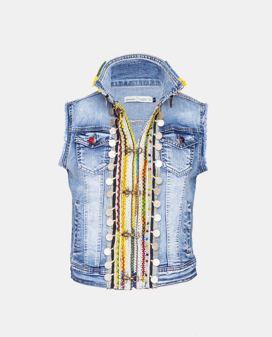 Dassios Theros- Ethnic embroidered denim vest