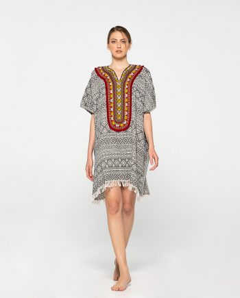 Dassios Theros- Aztec embroidered cotton poncho