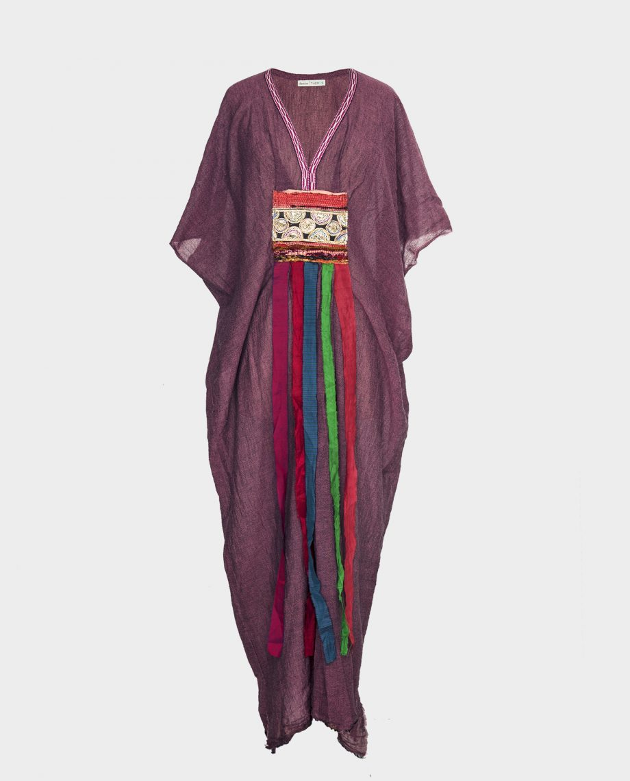 Light purple cotton kaftan dress