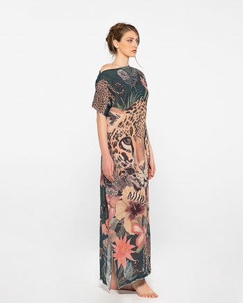 Dassios Theros- Tiger printed linen dress